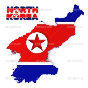 North Korea, map with flag, isolated on white with clipping path